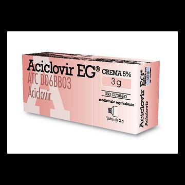 Aciclovir EG Crema 5% Herpes Simplex Labialis e Genitalis 3g