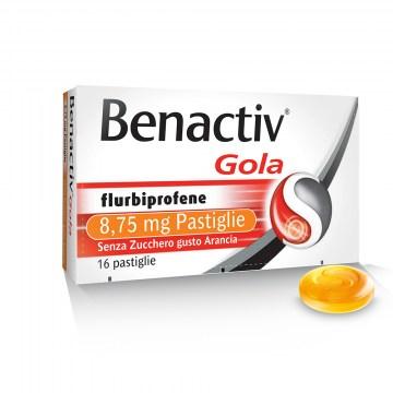 Benactiv Gola Pastiglie Mal di Gola Arancia 16 da 8,75 mg