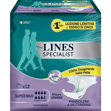Lines specialist pannolone a mutanda grande 12  pezzi