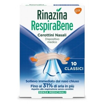 Rinazina RespiraBene Cerottini Nasali Classici 10 pezzi