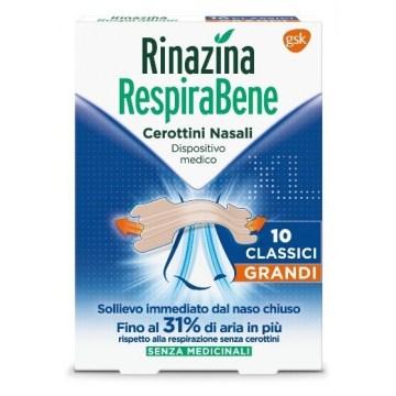 Rinazina respirabene cerotti nasali classici grandi 10 pezzi