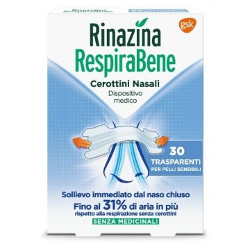 Rinazina Respirabene Cerotti Nasali Trasparenti 30 pezzi