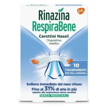 Rinazina respirabene cerotti nasali trasparenti 10 pezzi