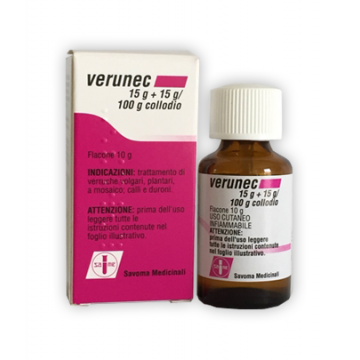 Verunec 15 g + 15 g / 100 g Collodio Soluzione Cutanea Verruche 10 g