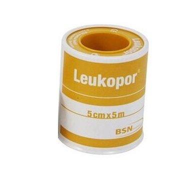 Cerotto in rocchetto leukopor ipoallergenico tessuto non tessuto bianco 5x500 cm