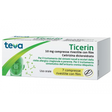 Ticerin 10 mg antistaminico 7 compresse rivestite