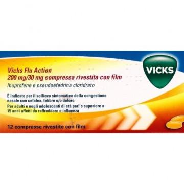 Vicks Flu Action 200 mg + 30 mg Decongestionante 12 compresse rivestite