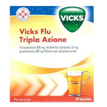 Vicks Flu Tripla Azione Polvere Paracetamolo Influenza 10 bustine