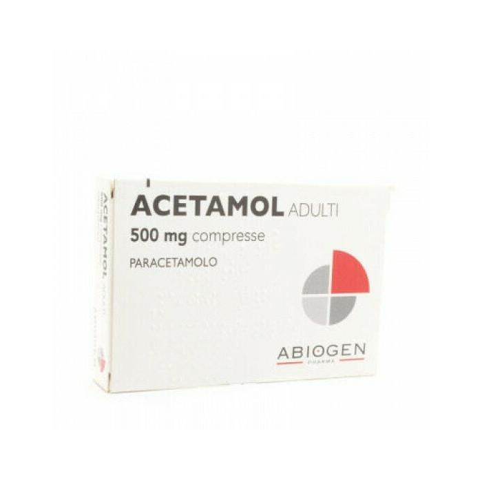 Acetamol Adulti 500 mg Paracetamolo Febbre e Dolori 20 compresse