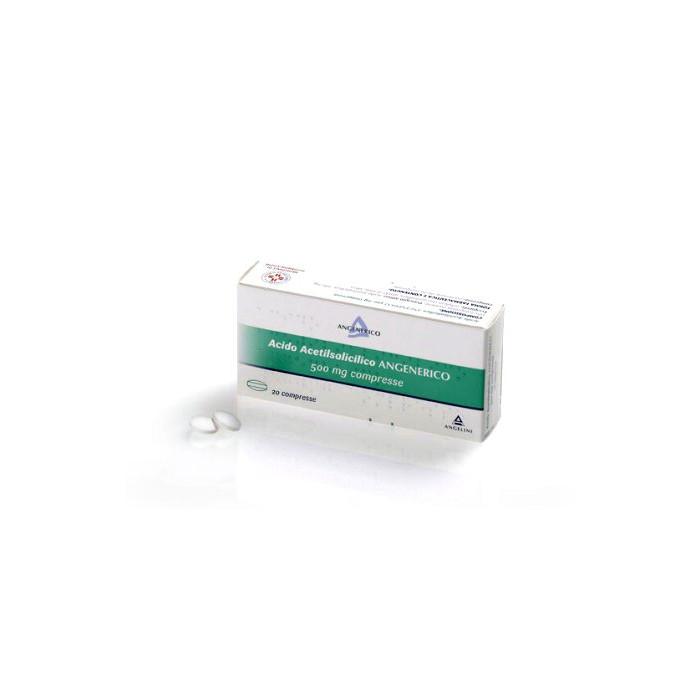 Acido Acetilsalicilico Angenerico 500 mg Antipiretico Antidolorifico 20 compresse
