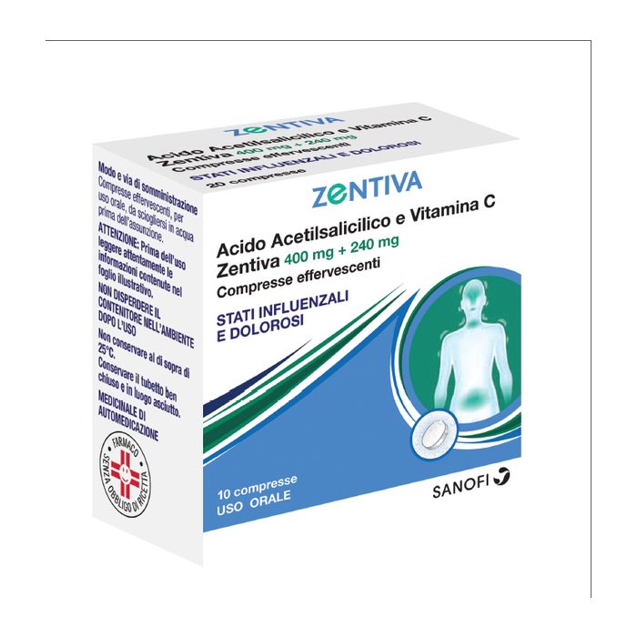 Acido acetilsalicilico e vitamina c (zentiva) 10 compresse effervescenti 400mg + 240 mg