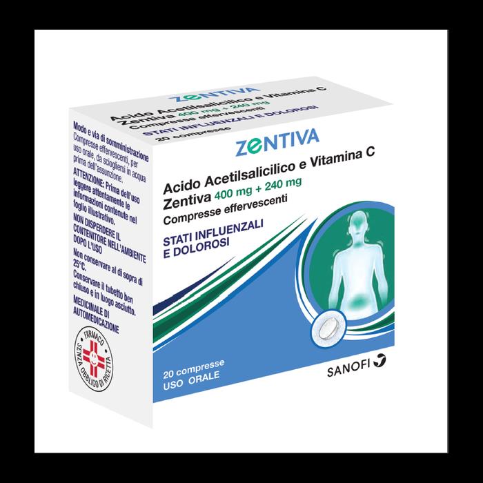 Acido acido acetilsalicilico e vitamina c (zentiva) 20 compresse effervescenti 400 mg + 240 mg