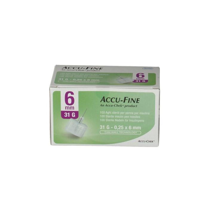 Ago per penna da insulina accu-fine pen needle accu-chek gauge 31 x 6mm 100 pezzi