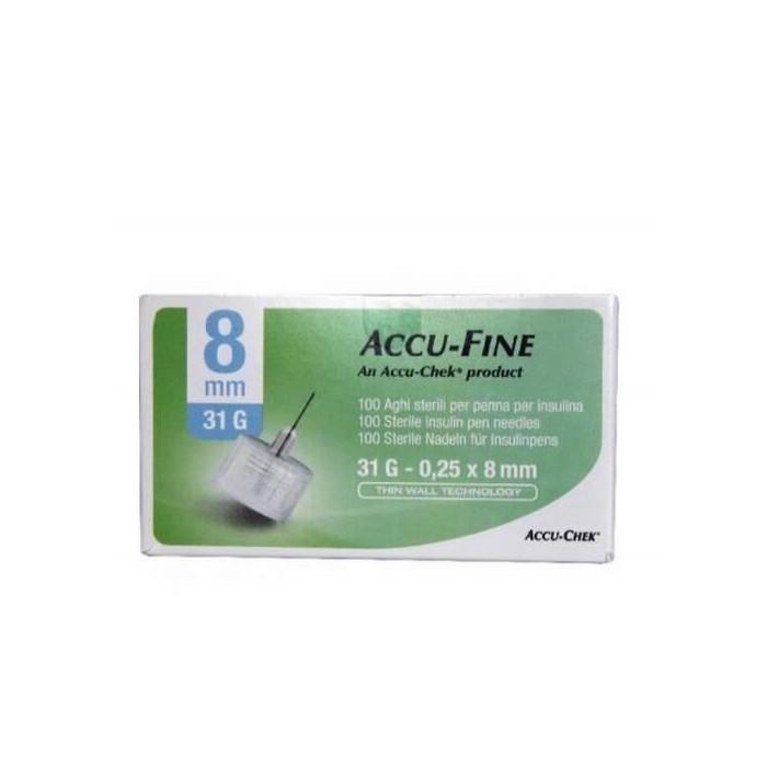 Ago per penna da insulina accu-fine pen needle accu-chek gauge 31 x 8mm 100 pezzi