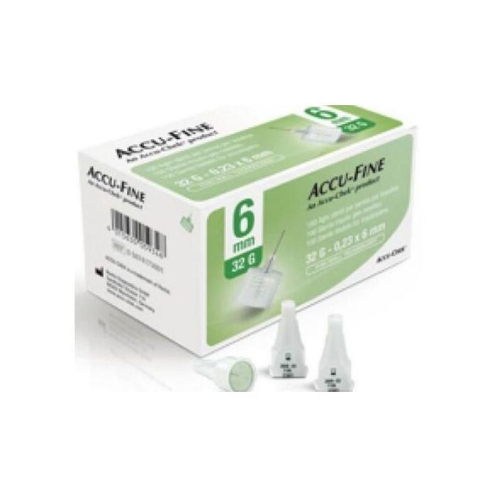 Ago per penna da insulina accu-fine pen needle accu-chek gauge 32 x 6mm 100 pezzi