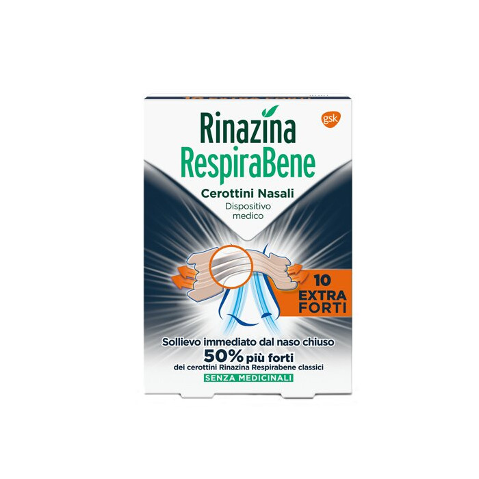 Rinazina respirabene cerotti nasali extra forti 10 pezzi
