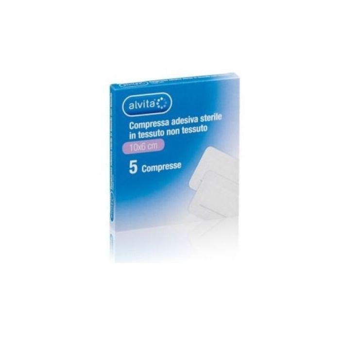 Garza compressa adesiva sterile alvita in tessuto non tessuto estensibile bianco 10x6cm