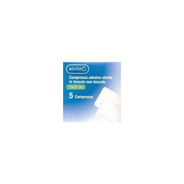 Alvita garza compressa adesiva sterile in tessuto non tessuto estensibile bianco 10x25cm 5 pezzi