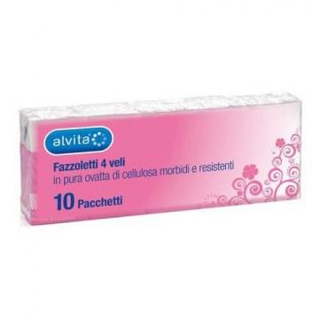 Alvita fazzoletti carta 10 pezzi 10 pacchetti