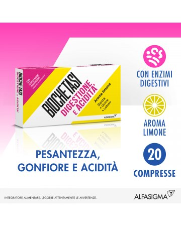 Biochetasi digestione e acidita' compresse masticabili limone